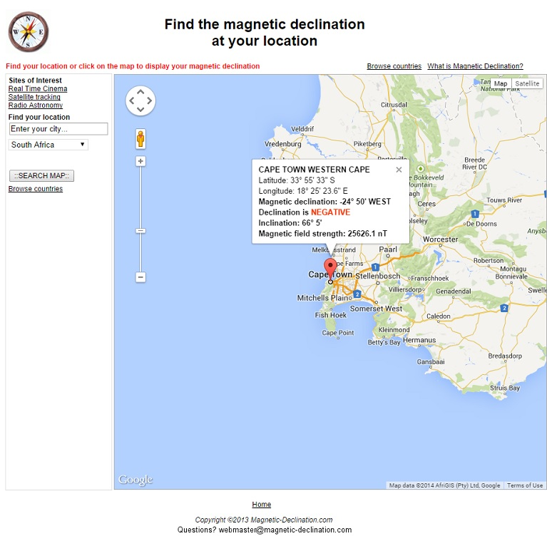 Magnetic declination for Cape Town