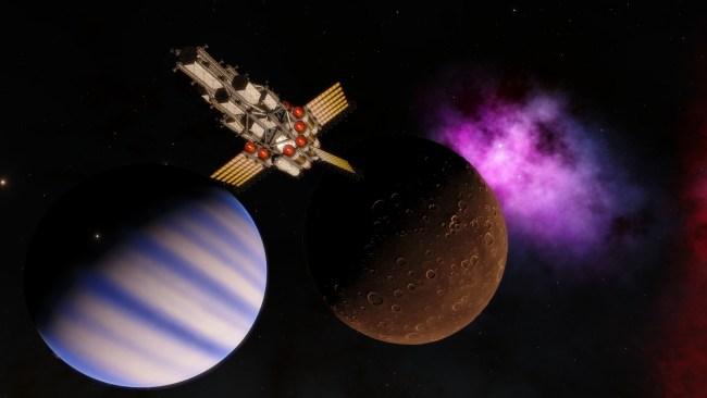 Spacecraft near a moon