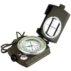 Eyeskey Multifunctional Military Army Metal Sighting Compass with Pouch Waterproof for Outdoor Activities Green/Camouflage