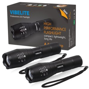 VIBELITE Tactical Flashlight 2Pack Ultra Bright LED Flashlight 300Lumems - Portable Outdoor Water Resistant Torch with Adjustable Focus and 5 Light Modes for Camping Hiking etc