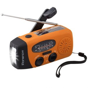 iRonsnow 2017 Version IS-088U+ Dynamo Solar Hand Crank Self Powered AM/FM/NOAA Weather Radio with LED Flashlight and 1000mAh Emergency Power Bank (Orange)