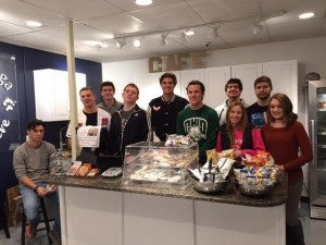 Submitted West Geauga High School students (l to r) Cody DiNardo, Nicholas Rossi, Albert Medancic, Kyle Gallagher, Cole Khas, Gabriel Molnar, Jack Rybak, Caroline Wolfhope, Richard Bohunicky and Camryn Heatwole are working in the school's Café Achieve store as part of their entrepreneurship class.
