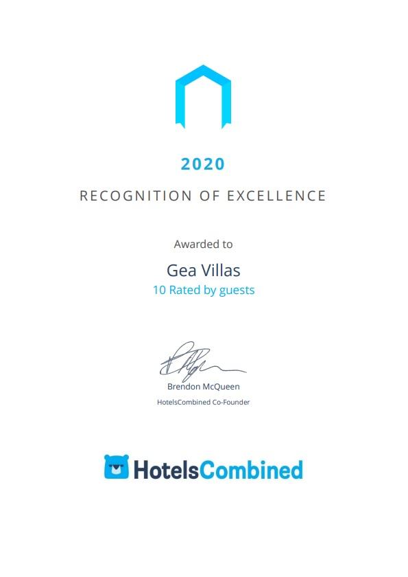 Gea Villas Lefkada Recognition-of-Excellence 2020