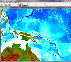 Grid display software used to view and access data from GEBCO's gridded bathymetric data sets