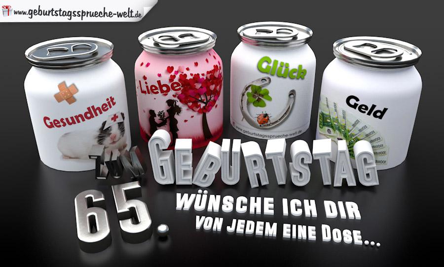 3d Geburtstagskarte Mit Glückwünschen In Dosen Zum 65