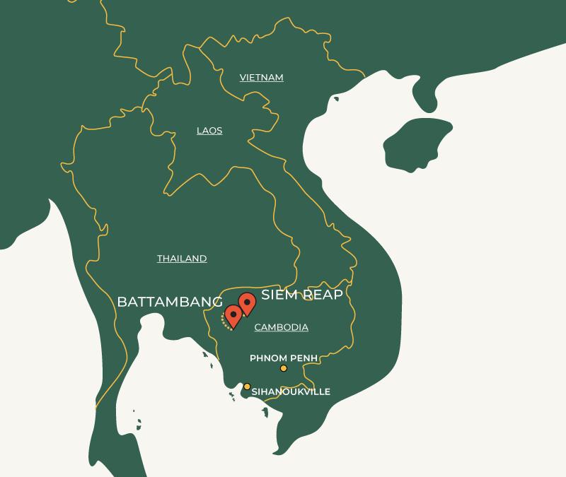 Battambang to Siem Reap travel route on map