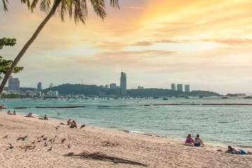 Pattaya Thailand sunset on beach