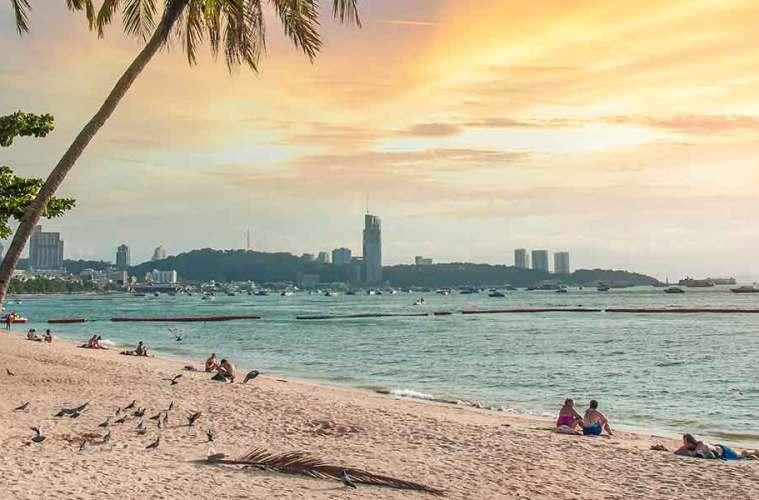 Pattaya Thailand sunset on beach