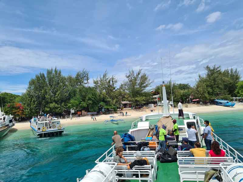 Ferry arriving from Bali to Gili Islands