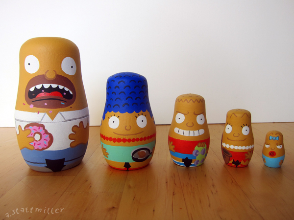 The Simpsons nesting dolls.  Hand painted by Andy Stattmiller.