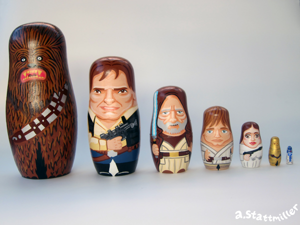 Hand painted Star Wars nesting dolls by Andy Stattmiller.
