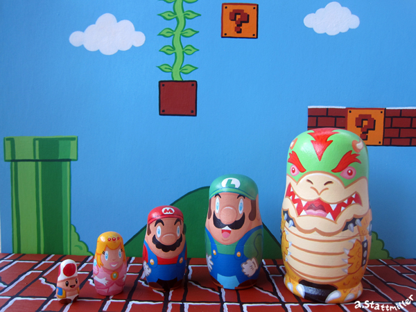 Super Mario Brothers Nesting Dolls.  Hand painted by Andy Stattmiller.
