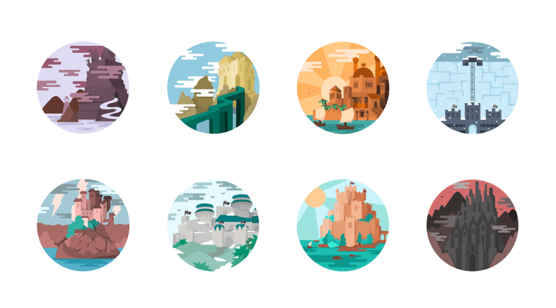 Lucia Gomez – Game of Thrones Landscapes – Illustrated Icons Set