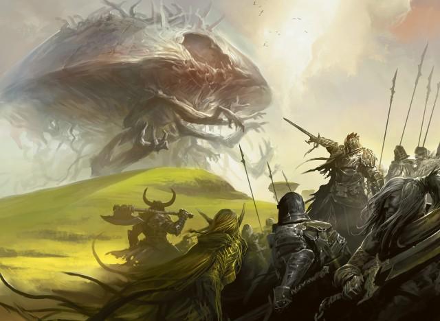 Rise of the Eldrazi – Army battles an Eldrazi (Magic the Gathering)