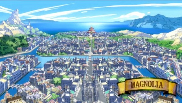 La ville de Magnolia où siège la guilde de Fairy Tail