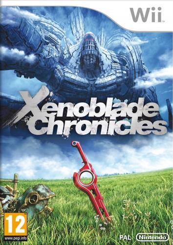 La jaquette du jeu avec, au premier plan, la Monado, l'épée autour de laquelle tourne toute l'histoire