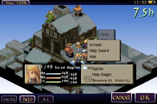 Un petit exemple de map de combat avec les menus de sélection d'attaque