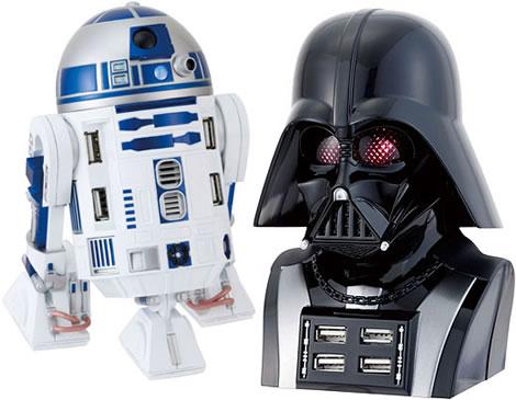 R2-D2 and Darth Vader USB Hubs