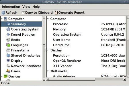 Hardinfo Interface