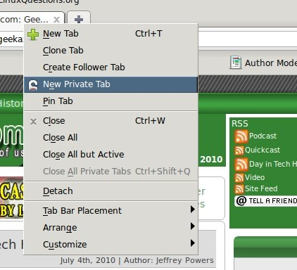 Tab Menu--Private Tab