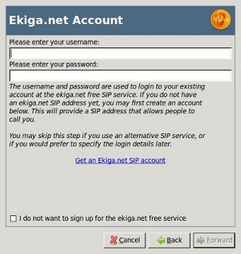 Enter Ekiga Account Information