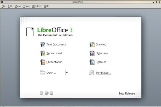 LibreOffice Main Screen
