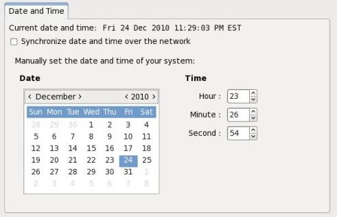 Fedora Date/Time Dialog