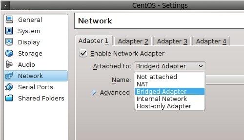 VirtualBox Network Adapter Selection