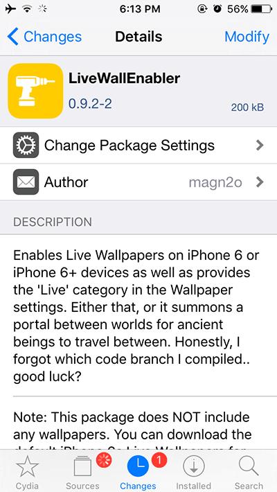 LiveWallEnabler Cydia Tweak IOS 9 Live Wallpapers