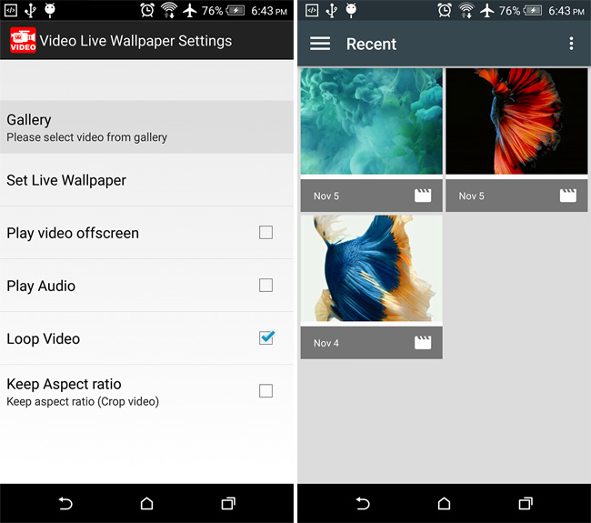Video Live Wallpaper For Android Settings