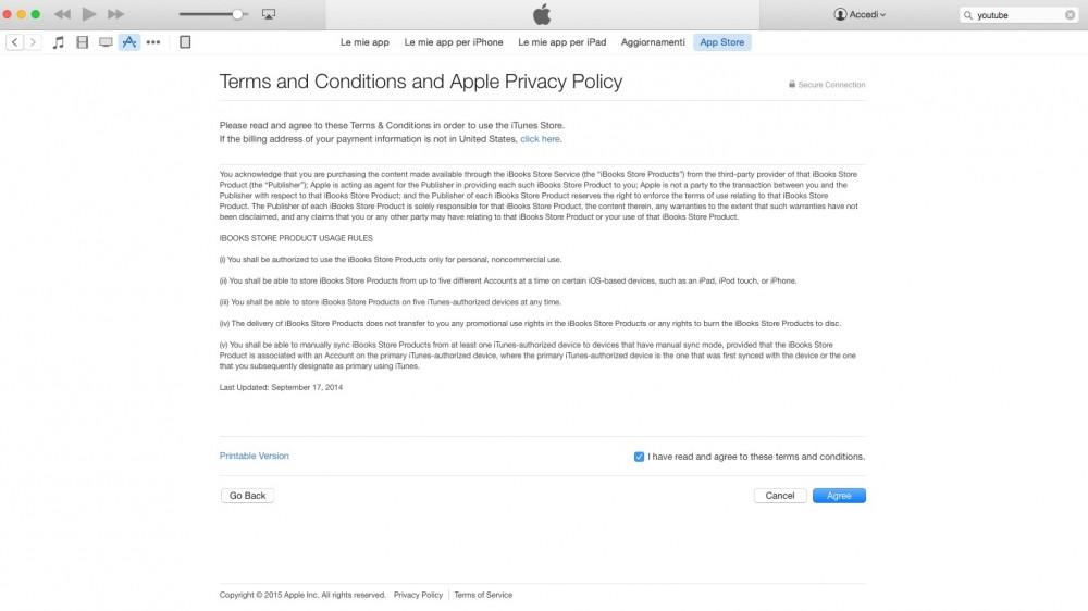 Accetta termini e condizioni di iTunes