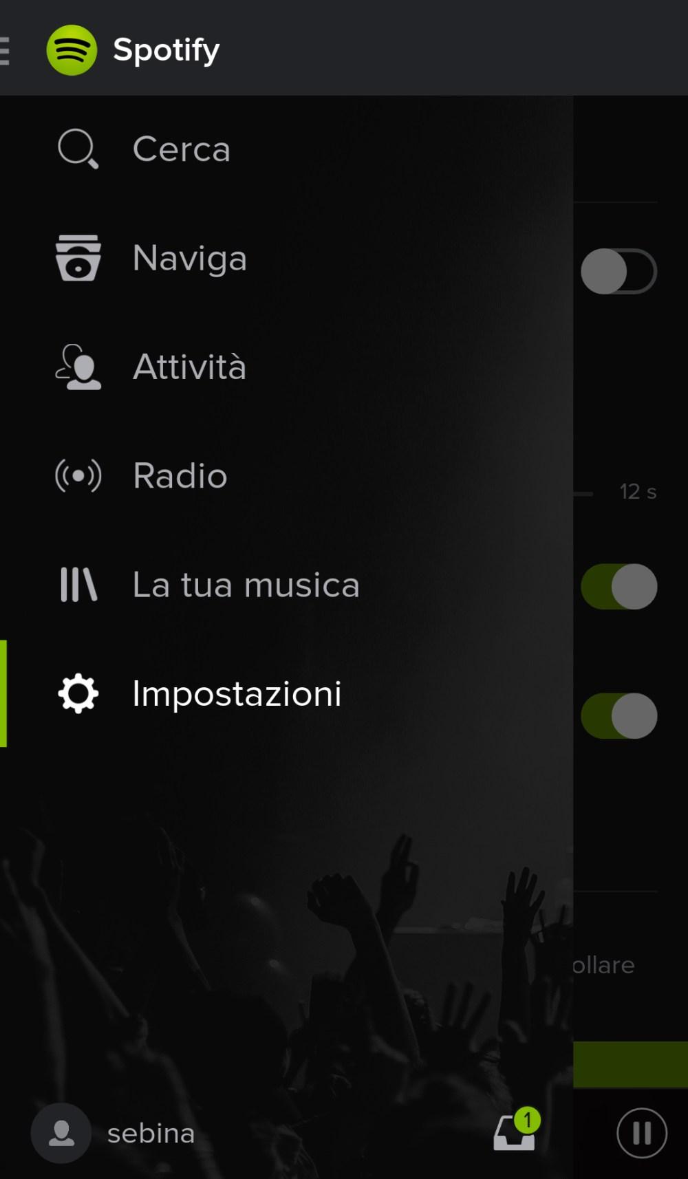 Spotify per Android - Impostazioni