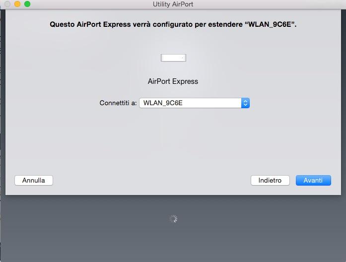 Configurare Utility AirPort: scegli rete WiFi