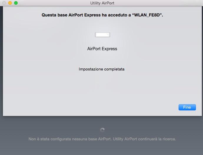 Configurare Utility AirPort: Impostazione completata