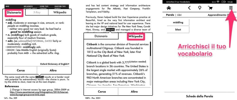 Kindle: apprendi con i dizionari e l'enciclopedia integrati