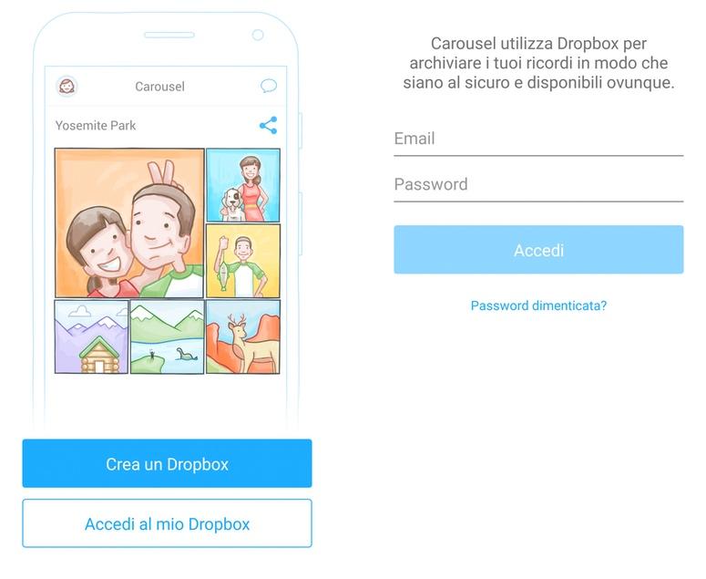Carousel - Entra con le tue credenziali di Dropbox