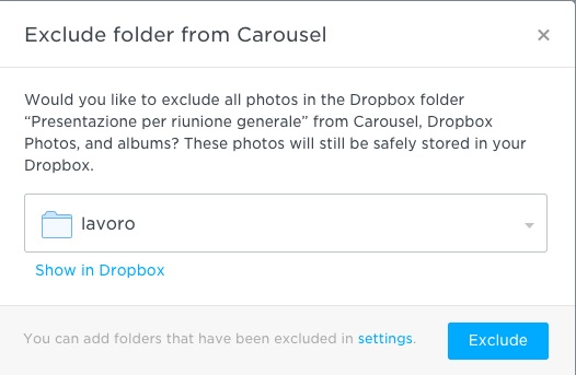 Come ignorare una cartella Dropbox su Carousel
