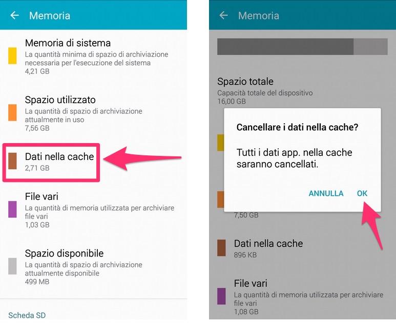 Come liberare velocemente memoria su Android