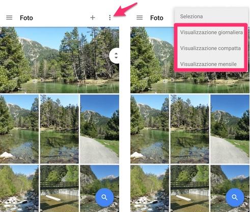 Google Foto: come cambiare modalità di visualizzazione