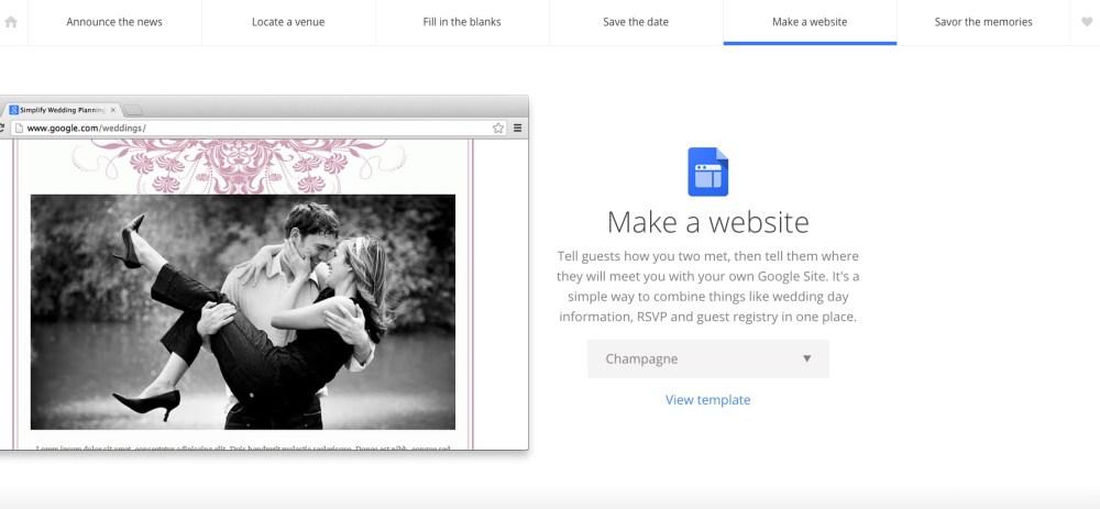Crea un sito web per il tuo matrimonio con Google Weddings