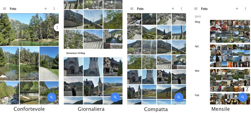 Tutte le modalità di visualizzazione in Google Foto
