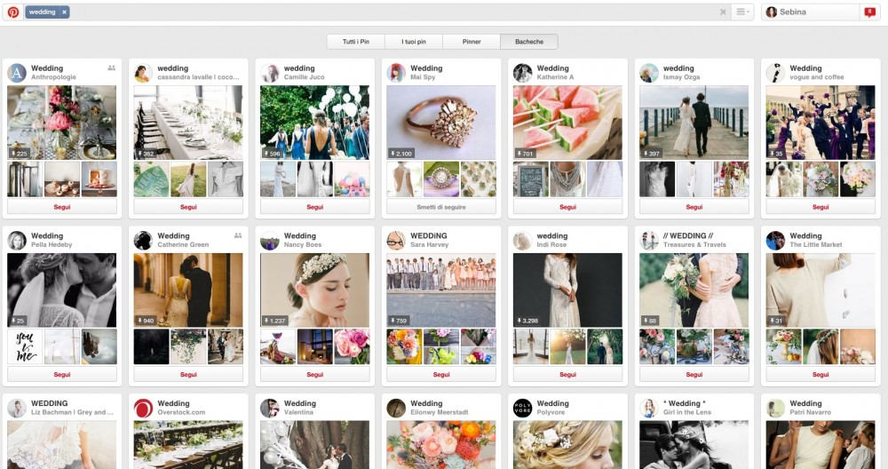 Pinterest è una miniera di ispirazione sul matrimonio