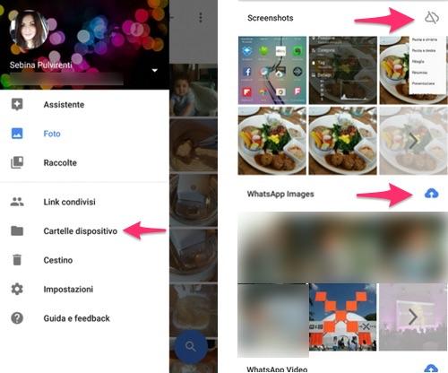 Scegli di quali cartelle fare il backup su Google Foto