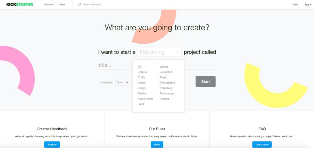 Kickstarter: scegli un campo e dai un titolo alla tua idea