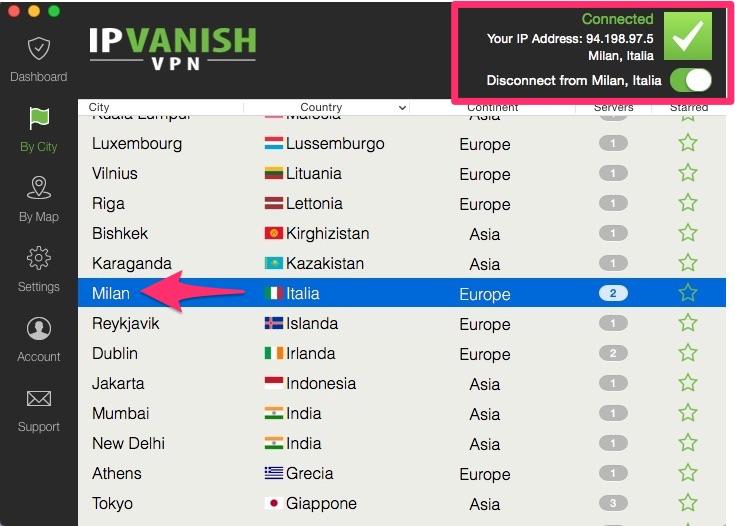IPVanish - VPN: lista dei server