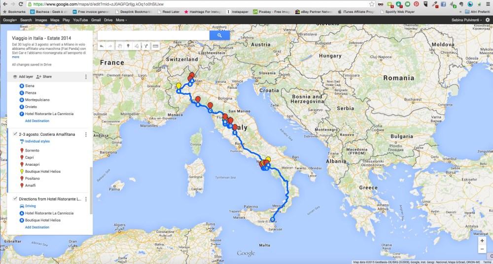 Creare un itinerario di viaggio con Google My Maps