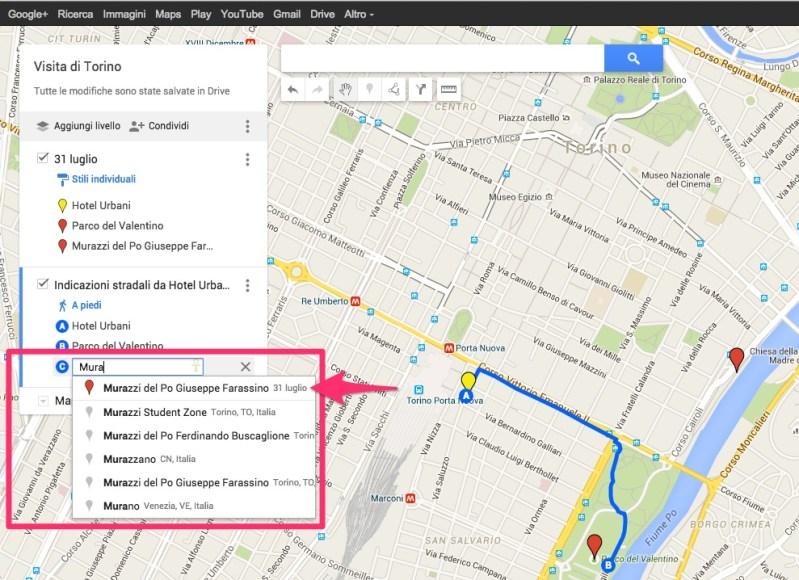 Aggiungere una nuova destinazione alle indicazioni stradali su My Maps