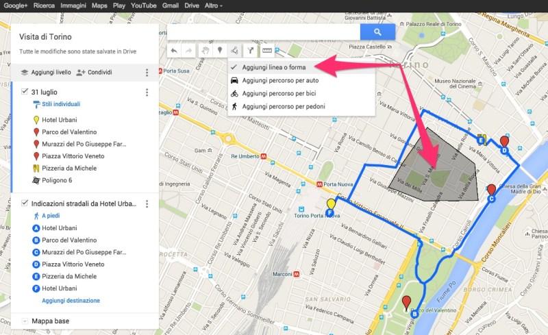 Itinerario di viaggio creato con Google MyMaps