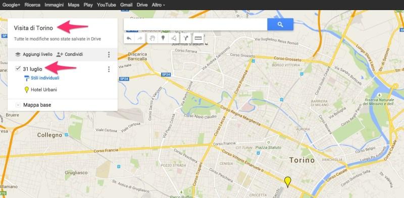 Modificare nome mappa e livello di My Maps