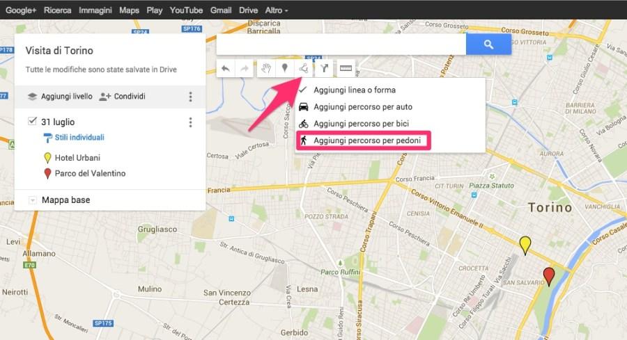 Come aggiungere un percorso per pedoni su My Maps